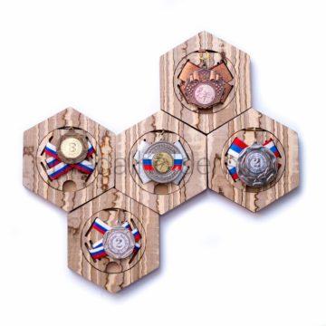 """Медальница сотовая """"Песчаный Тамо"""", комплект из пяти держателей для медалей"""