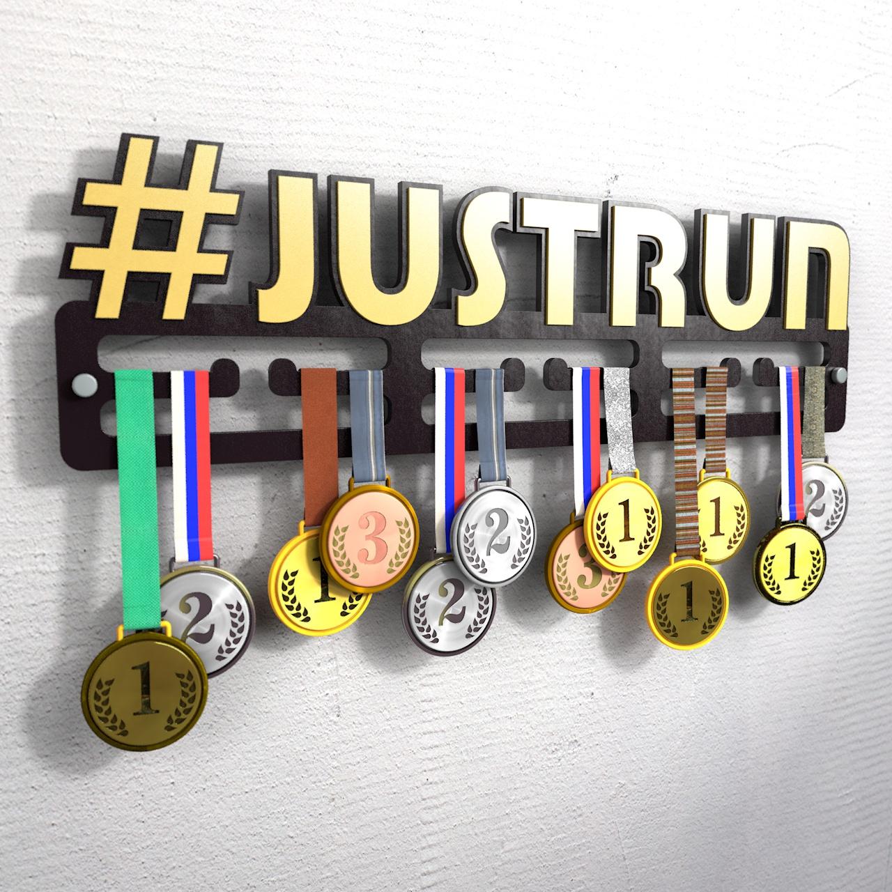 """Держатель для медалей с хештегом """"Justrun"""""""