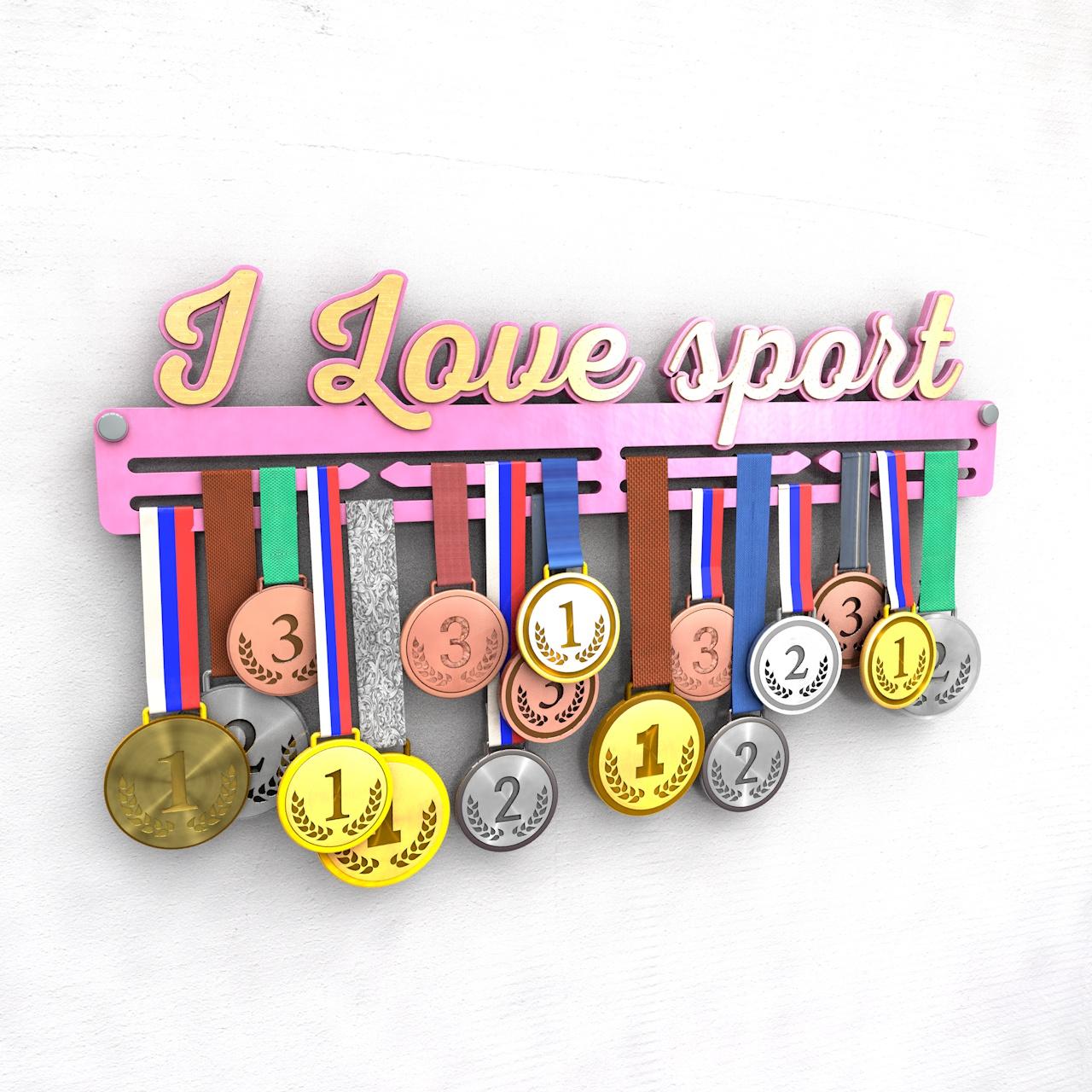 """Держатель для медалей """"I love sport"""", розовый"""