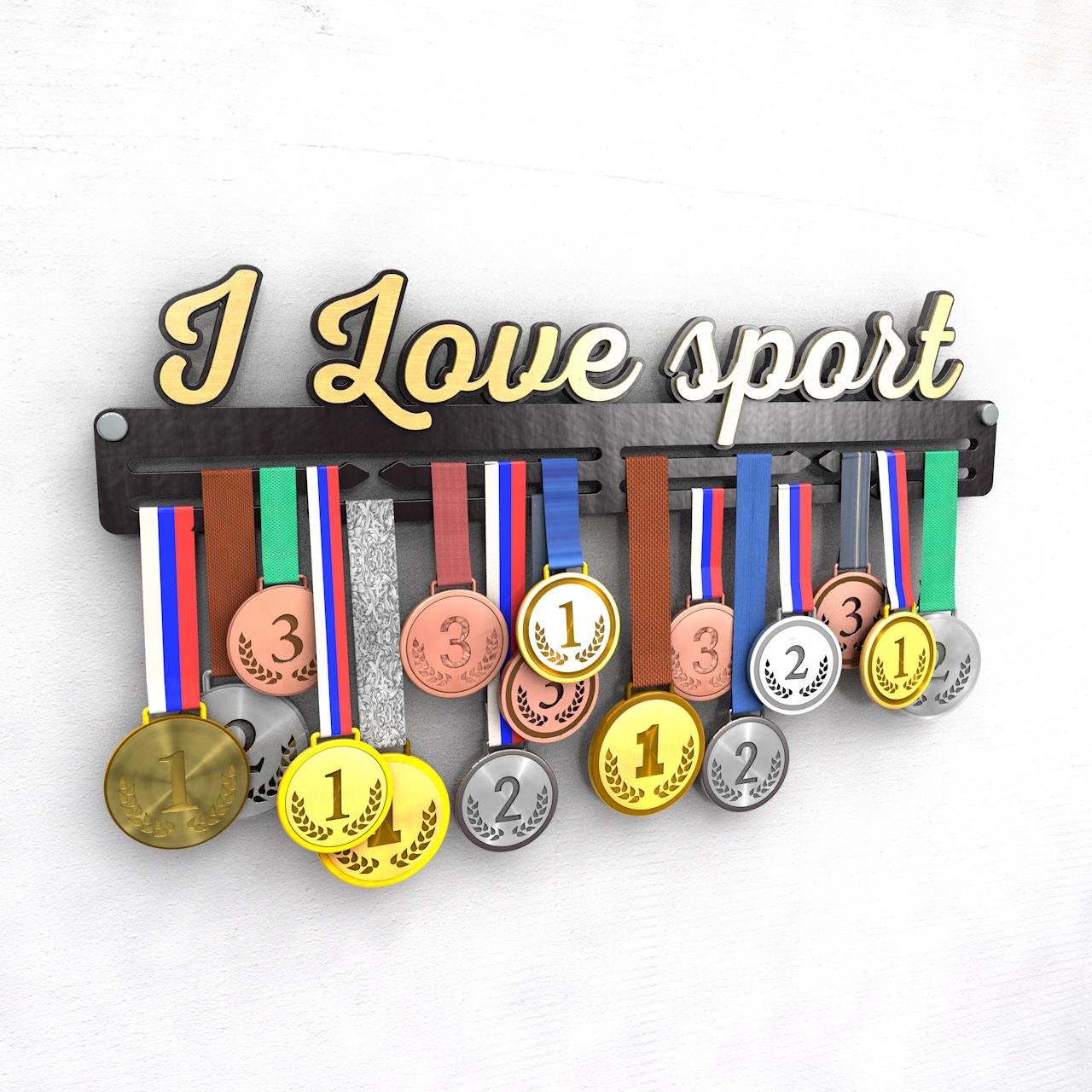 """Держатель для медалей """"I love sport"""", черный"""
