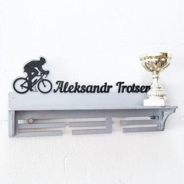 Медальница с полкой Велосипед, серебряная
